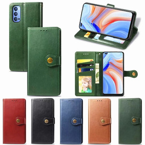 Wallet Leather Phone Case For OPPO Reno 4 Pro 4G 4Z 5G 2Z ZFindX2 F11 F15 A5 A7 A8 A9 A92 A31 2020 Solid color round buckle leather case