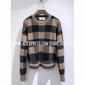 women's autumn winter cashmere sweater fashion Soft skin-friendly pullover long sleeve plaid casual high quality sweate 201026