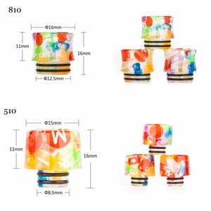 2 Styles Rainbow Epoxy Resin 810 510 Vape Drip Tip Colorful Wide Bore Mouthpiece For for 510 810 Thread Vape Tank Atomizer eCigs
