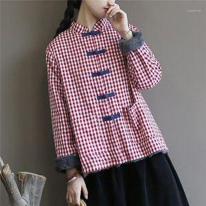 Nefeilike Plaid Parkas per le donne stand stile cinese cappotti inverno nuovo bottone in pile da donna panni in cotone parka cappotti1