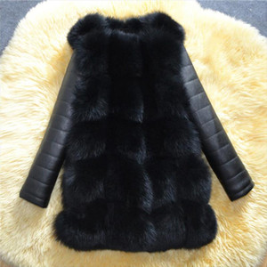 2019 Winter New Arrival Warm Women Faux Fox Fur Coat with PU Sleeve High imitation Fox Fur Jacket Black fur Outerwear