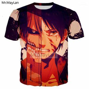 Attacco di Anime Harajuku su Titan Eren Stampa 3D T Shirt da uomo / Donne Estate T-shirt Punk Punk Boys Hipster Cool Tshirts uomo Casual vestiti1