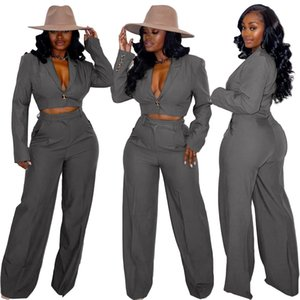 2021 Latest Elegant Women Suits Sets Office Lady Long Sleeves Short Blazer Coat Single-button Lapel Neck High Waist Straight Pants Sets