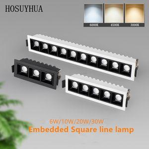 High Brightness Recessed Strip LED Ceiling Lights 10W 20W 30W COB LED Down lights AC85~265V LED Strip lamp Indoor Lighting White Black Body