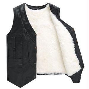 Winter jacket Men genuine sheepskin leather vest spring and summer vest fur male genuine leather plus size 5XL inter men coat