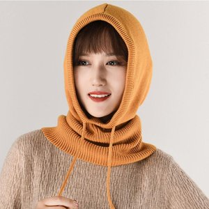 Women Cashmere Wool Hats Bib Female Winter Thick Warm Knitted Skullies Version Cap Earmuffs Collar Soft Solid Beanies Hooded