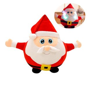 Elk Santa Claus Christmas Stuffed Animals Musical Led Plush Toys Luminous Doll Xmas Gift For Kids Xmas Birthday Gift 22 35 55cm sqccjN