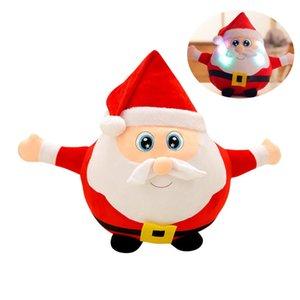 Elk Santa Claus Christmas Stuffed Animals Musical Led Plush Toys Luminous Doll Xmas Gift For Kids Xmas Birthday Gift 22 35 55cm sqccjN