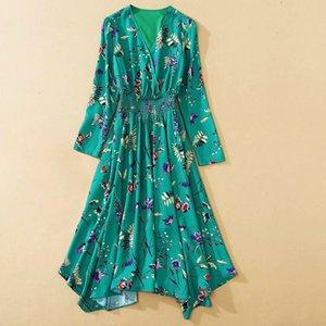 Высокое качество NEW 2021 мода дизайнерские взлетно-посадочные платья женская V-образная выречка с длинным рукавом асимметричное цветочное печать Dressc15y