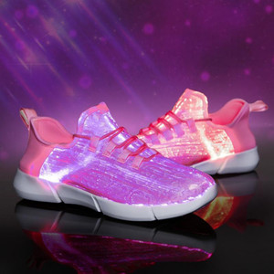 2020 New Summer Led Fiber Optic Shoes for Girls Boys Men Women USB Recharge Glowing Sneakers Man light up shoes Lighting