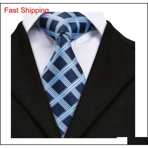 Hi-tie 100% Silk Tie Set Business Men Plaid Blue Necktie Handkerchief Cufflinks Set Ties For Men Wedding qylerF dh_seller2010