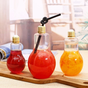 LED Light Bulb Plastic Milk Juice Water Bottle Disposable Leak-proof Drink Cup With Lid Creative Drinkware Wholesale VT0435