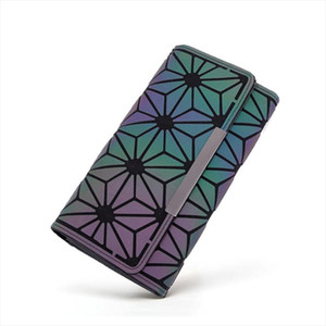 Brand Design Women Long Wallets Purse Geometry Holographic Luminous Clutch Female Phone Bag Three Fold Card Holder Carteira