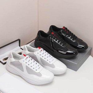Hommes America's Coupe XL Cuir Sneakers de haute qualité Cuir Pattent Entraîneurs plats Noir Mesh Dace-up chaussures décontractées Entraîneurs de coureurs en plein air