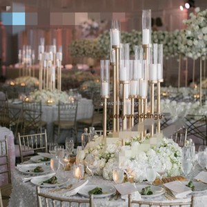Wedding Backdrop stick 12 heads candelabra wedding aisle decor Gold Tall event table centerpieces for wedding stands