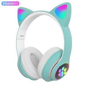 Gato Auriculares Bluetooth Auriculares RGB Bass Wireless Ruido Cancelación Auricular Adultos Niños Muchacha Auriculares Soporte TF Tarjeta Casco Mic