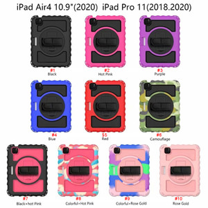 for iPad air 1 2 3 4 5 6 7 8 10.9 10.2 pro 9.7 11 10.5 Tab A A7 A8 360 Rotating slicone Hybrid Shockproof Armor Holder pencil Shoulder strap