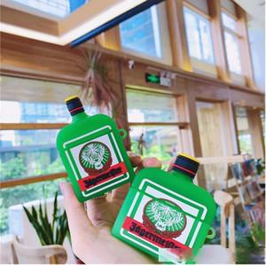 Suave silicone protetora capa para Airpods 1/2 pro dispositivo cute divertimento bebida álcool com mosquetão chaveiro acessórios de gancho