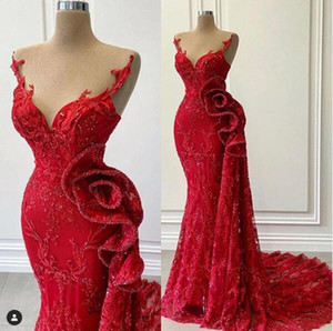 Luxury Red Lace Beaded Evening Pageant Dresses 2021 Real Image Sheer O-neck Ruffles Side Peplum Occasion Prom Dress Vestidos
