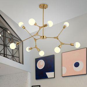 Oro Spider Chandelier per la lampada Soggiorno Camera da letto Cucina Corridoio scandinavo lampadario Loft Industrial Art Decor sputnik