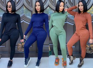 women tracksuit long sleeve pantsuit outfits shirt pants 2 piece set skinny shirt tights sport suit pullover pants hot selling klw5295