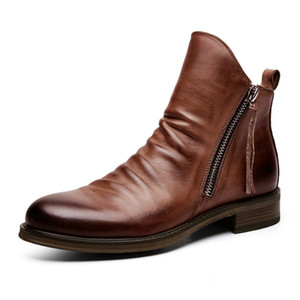 Vintage Fashion Men's Shoes Chelsea Boots High Quality Pu Leather Male Combat Tactical Ankle Boots Big Size 38-48