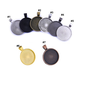25mm Circle Pendant Trays Blank Bezel Cabochon Setting Jewelry Pendants DIY Keychain Jewelry Accessories Multicolor
