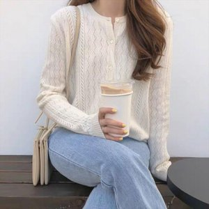 BELIARST 2019 Spring and Autumn New Ice Silk Cardigan Womens Round Neck Sweater Loose Hollow Knit Bottom Coat Sweater