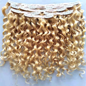 Brazilian virgin curly hair weft clip in hair extensions Blonde 613# color human extensions can be dyed