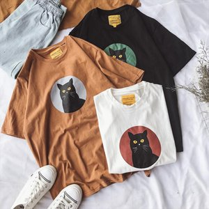 Cat Cartoon Cotton Cute Short sleeved T shirt Female Summer Fashion Bf Couple Large Size M 3xl Casual New T shirt