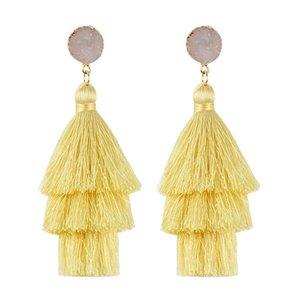 New Trendy 3 Layered Colorful Tassel Earrings Handmade Bohemia Style Resin Stone Dangle Earring For Women High Quality Jewelry Gift