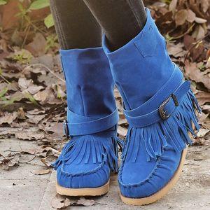 2020 New Amazon Women's Boots Wish European and American Style Women's Explosive Fashion Large Size Ribbon Tassel Boots Women
