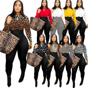 prendas de vestir para mujer atractiva de la manera irregular del mono de los pantalones de la impresión de la manga larga de las señoras Bodysuit delgada de la cremallera Casual Onesies mamelucos multicolores