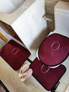 Wine Red Luxury Toilet Toilet 3 Pz Set Antiskid Bath Packs Soft Acqua Assorbimento Acqua Anti-slip Tappetini Toilette Tappeti per il bagno