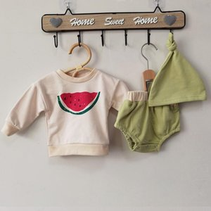 2020 New Autumn Korean Style Kids Clothes Suit T-shirt+Pants +Hat Infant Baby Girls Boys Clothing Set Newborn Baby Boys Clothes