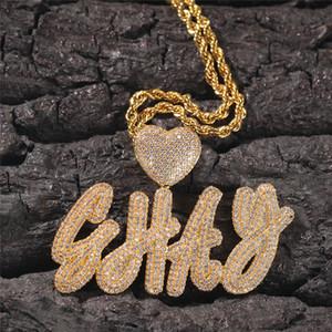 Trendy Altın Gümüş Kaplama Bling Buz Out CZ Kalp DIY Özel Adı Cursive Mektup Kolye Kolye Erkekler Kadınlar Için FFree Halat Zinciri Ile