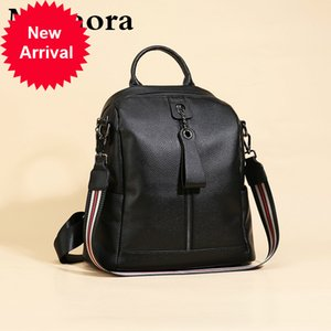Bolsa de mujer Motaora Mochila de cuero genuino Mujeres Classic Solid Black Cowhide Schoolbag for Girl Fashion Bags casuales femaleZP7H