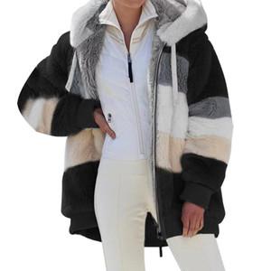 Wollmischungen Jacke Frauen Winter Mantel Lässige Weibliche Plüsch Patchwork Reißverschluss Tasche Mit Kapuze Mäntel Lose Oberbekleidung Frauenjacke