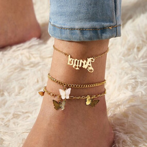 Multi-Layer new Letter Butterfly Anklet bracelet 3 Set Angel Word Gold Color Pink Butterfly Charm Anklet Jewelry