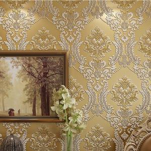 beibehang Wall Paper Home Decor Background Wall Damask Wallpaper Golden Floral Wallcovering 3D velvet Wallpaper Living Room