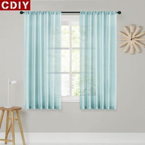 Sheer Short Curtains for Kitchen Half Window Living Room Modern Solid Voile Curtain Bedroom Home Decoration Roman Tulle Drapes