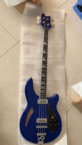 Wholesale customized new 4-string electric bass rickenbackr model semi-hollow body top quality blue, free shipping,