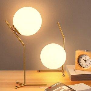 Lampada moderna LED Ball Glass Glass Luminary Minimalist Creative Room Beinth Study Study Small Night Light Table 2vz3