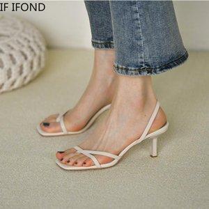 Se flip flip flip flops ifond sandali con tacco alto scarpe per le donne vintage quadrate toe back cinturino scarpe femmina diapositive partito nuovo