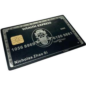 Özel Ucuz Lüks Eloksal Boş Siyah Altın Gümüş Paslanmaz Çelik Fırçalanmış VIP Metal Kart Ile Çip 4428 veya Chip 4442