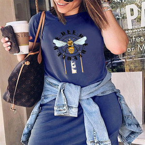 2020 Hot Selling Explosive Printed Dress Women's European and American Women's Summer New Heat Transfer Round Neck Bee T-shirt Size S-5XL