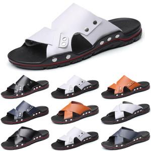 2020 luxury men slides slippers mens fashion sandals black white leather slide slipper flat size 40-46