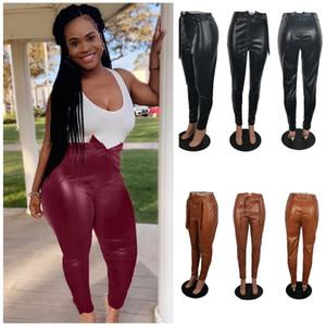 Tasarımcılar Kadınlar PU Pantolon Moda Seksi Tayt Bayan Sonbahar ve kış rahat düz renk deri pantolon s-4XL Giyim 3 renk F92904