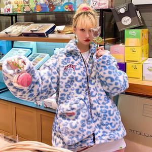 Hwlzltzht faux pelliccia calda inverno inverno giacca plus size fuzzy carino giacche latte mucca leopardo stampa cappotto collare giuridico cappotto cappotto 201028