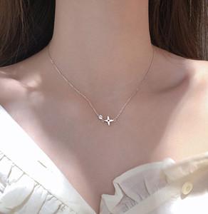 2020 factory Minimalism Four-leaf clover element women's light luxury niche design sense diamond lucky flower brass zircon necklace jewelry